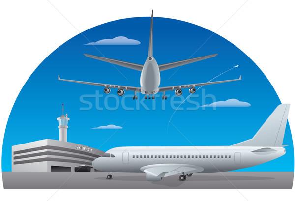 аэропорту иллюстрация здании фон области Сток-фото © olegtoka