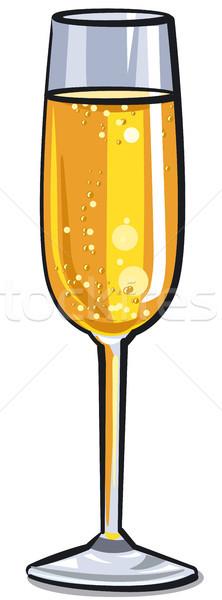 Pezsgő üveg illusztráció fehér bor háttér Stock fotó © olegtoka