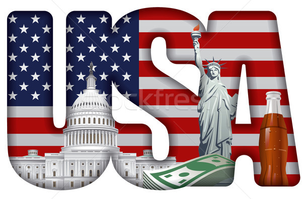 usa incscription with landmarks Stock photo © olegtoka