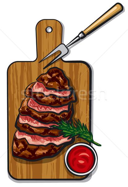 гриль говядины иллюстрация древесины совета Сток-фото © olegtoka