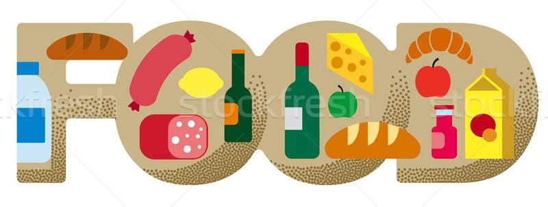 продовольствие продуктовых баннер иллюстрация супермаркета сыра Сток-фото © olegtoka