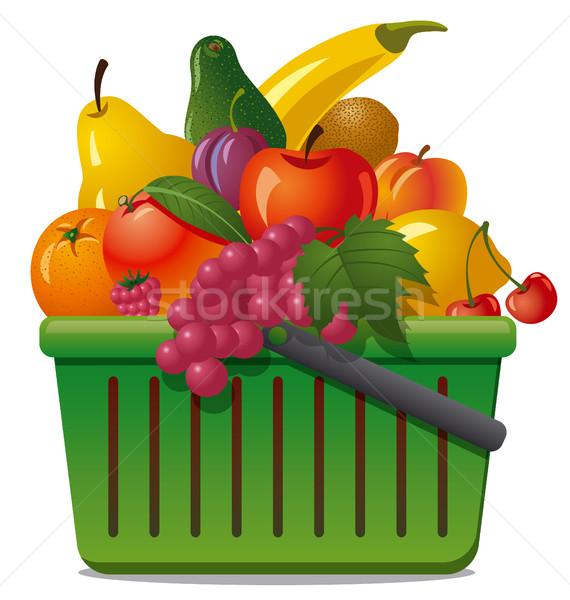 корзины плодов иллюстрация рынке Ягоды продовольствие Сток-фото © olegtoka