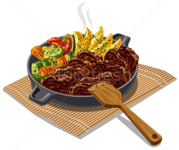 мяса овощей иллюстрация приготовления стейк Сток-фото © olegtoka