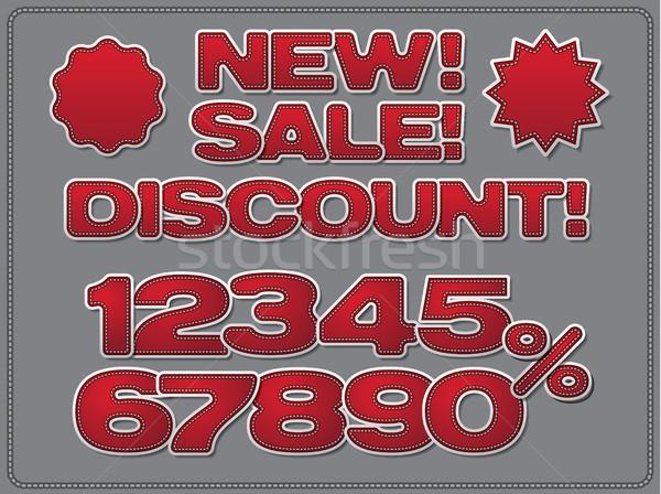 красный реклама иллюстрация набор скидка Сток-фото © olegtoka
