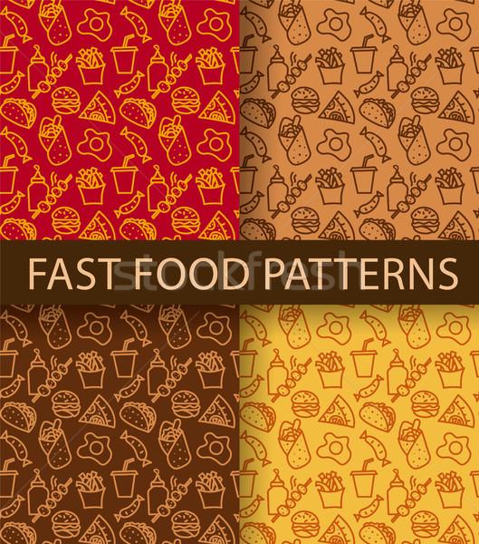 Stockfoto: Fast · food · illustratie · verschillend · kleuren · voedsel