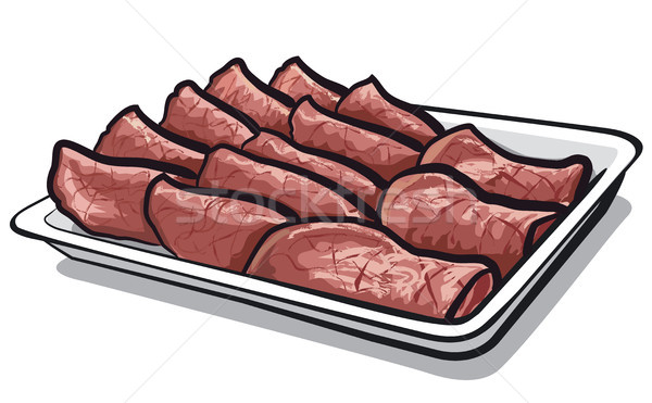 Sült szeletel borjúhús illusztráció tányér hús Stock fotó © olegtoka