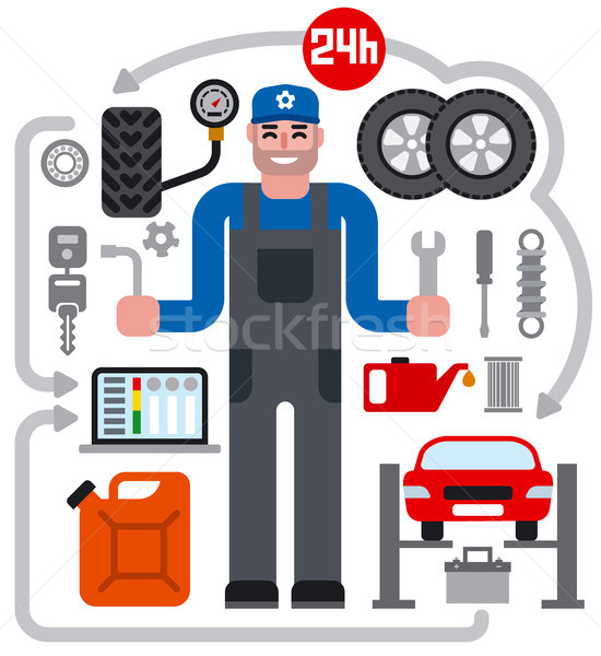 Foto stock: Coche · servicio · reparación · iconos · ilustración
