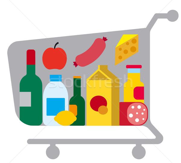 ételek étel illusztráció kosár különböző bolt Stock fotó © olegtoka