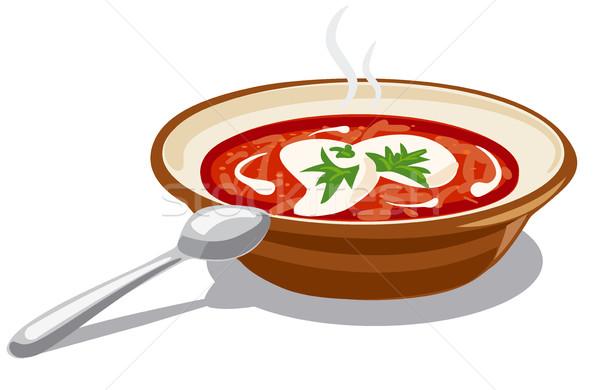 borscht with sour cream Stock photo © olegtoka