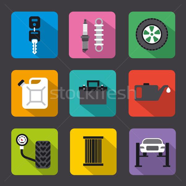 car service repair flat icons Stock photo © olegtoka