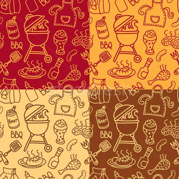 Мангал гриль шаблон иллюстрация пикника продовольствие Сток-фото © olegtoka