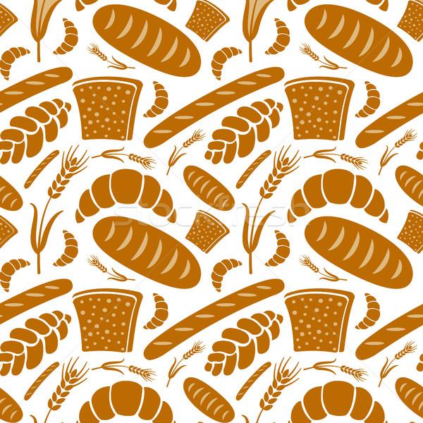 Végtelen minta pékség illusztráció különböző kenyér háttér Stock fotó © olegtoka
