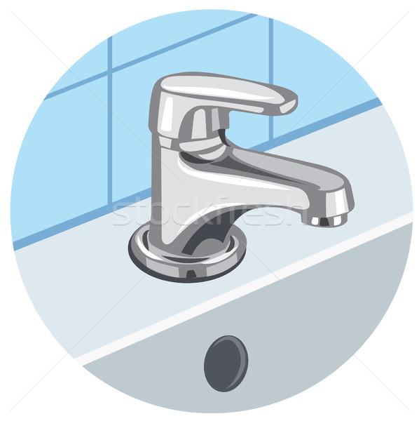 Robinet évier illustration salle de bain intérieur propre Photo stock © olegtoka
