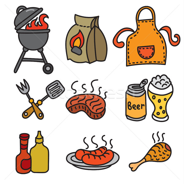 барбекю пикника иконки мяса гриль Сток-фото © olegtoka