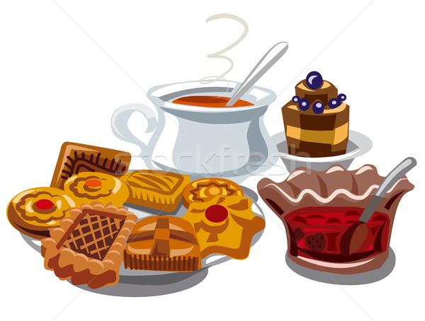 Cookie Jam горячей чай иллюстрация продовольствие Сток-фото © olegtoka