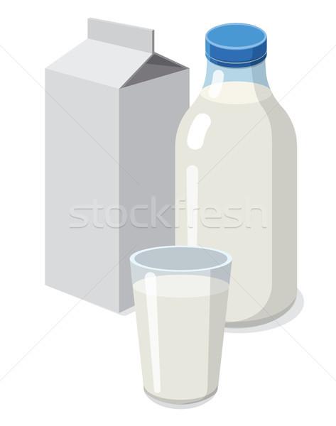Taze süt örnek ayarlamak şişe cam süt Stok fotoğraf © olegtoka