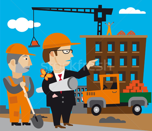здании рабочие городского инженер крана развития Сток-фото © olegtoka