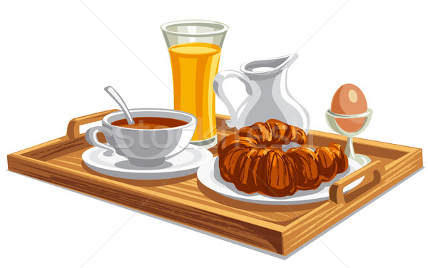 завтрак лоток отель иллюстрация утра продовольствие Сток-фото © olegtoka