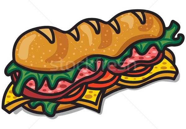 Sándwich lechuga tocino ilustración salchicha tomates Foto stock © olegtoka