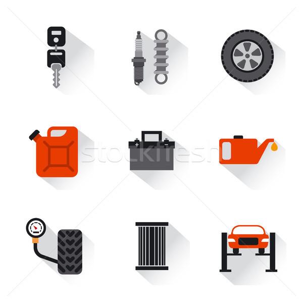 Araba hizmet tamir simgeler örnek ayarlamak Stok fotoğraf © olegtoka
