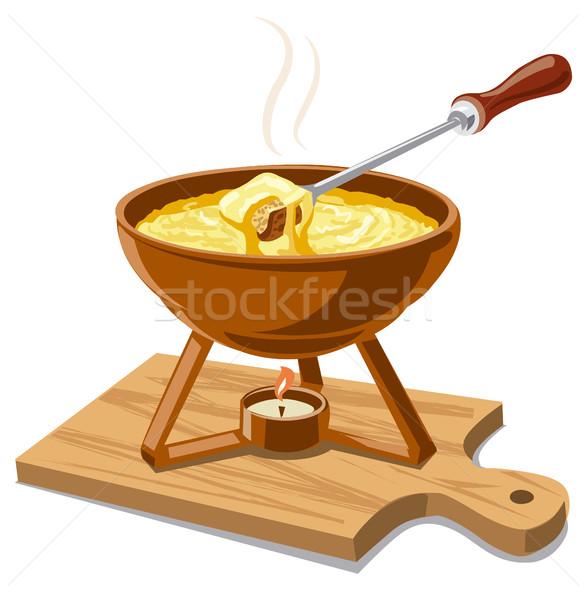 горячей сыра иллюстрация продовольствие обеда вилка Сток-фото © olegtoka