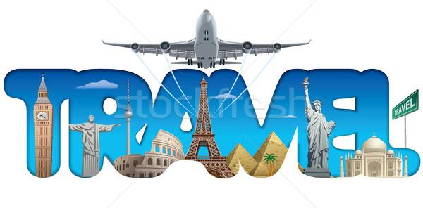 Utazás körül világ illusztráció szöveg felirat Stock fotó © olegtoka