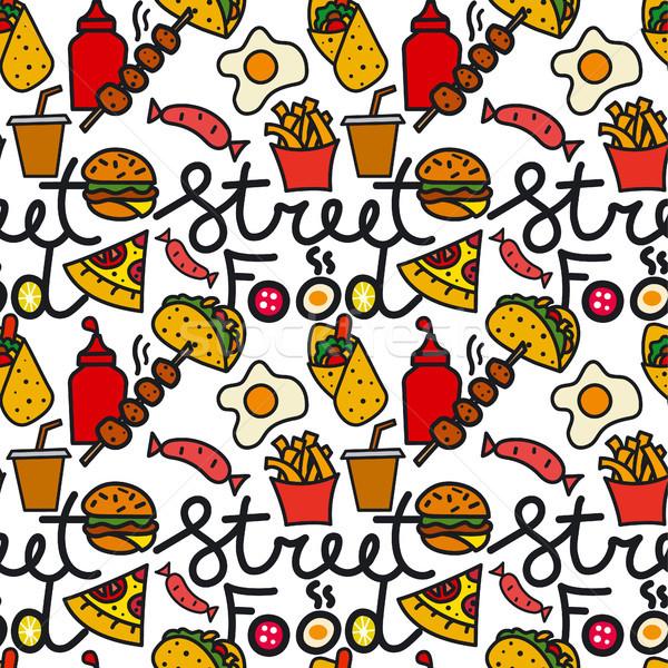 street food seamless pattern Stock photo © olegtoka