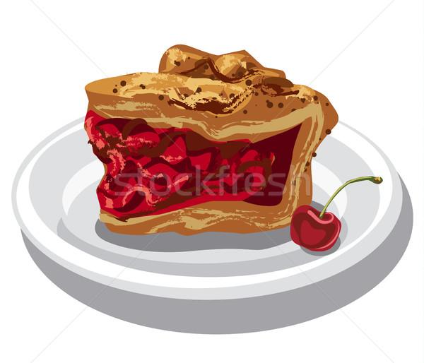 ломтик вишневый пирог иллюстрация пластина продовольствие фрукты Сток-фото © olegtoka