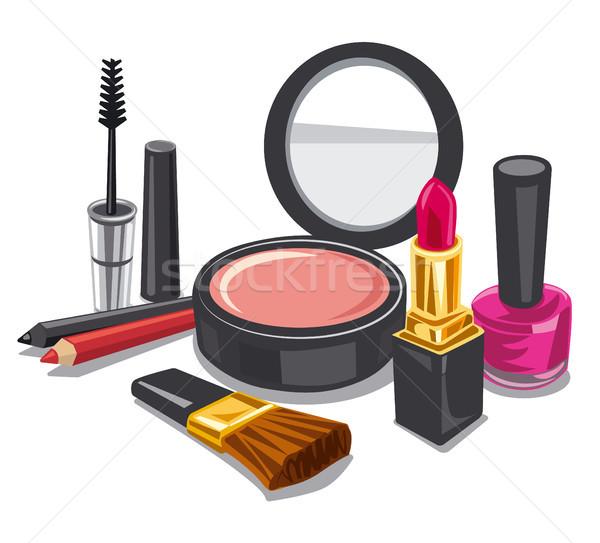 Smink termék gyűjtemény illusztráció divat női Stock fotó © olegtoka