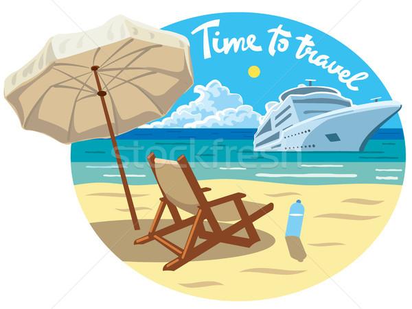 Praia recorrer oceano navio de cruzeiro ilustração slogan Foto stock © olegtoka
