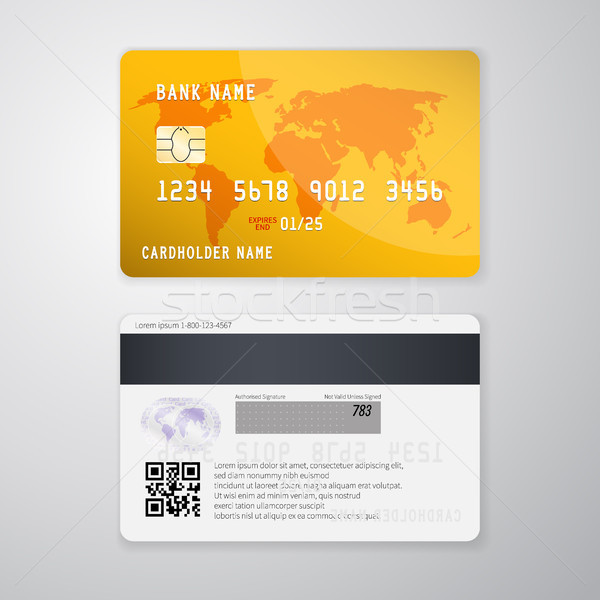 Stock photo: Realistic detailed credit card with the world map on yellow background. Vector illustration design
