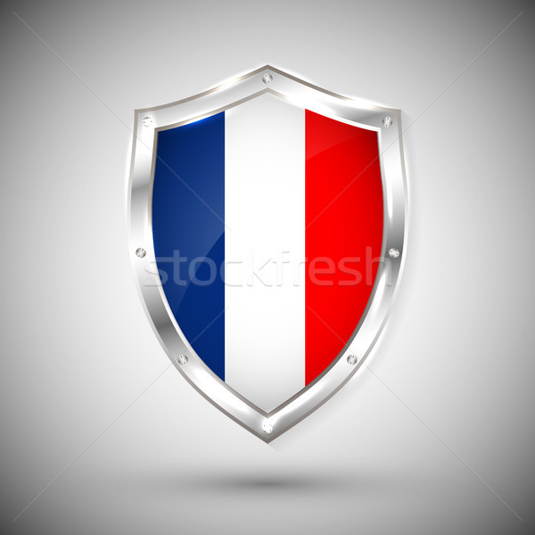 France flag on metal shiny shield vector illustration. Collection of flags on shield against white b Stock photo © olehsvetiukha