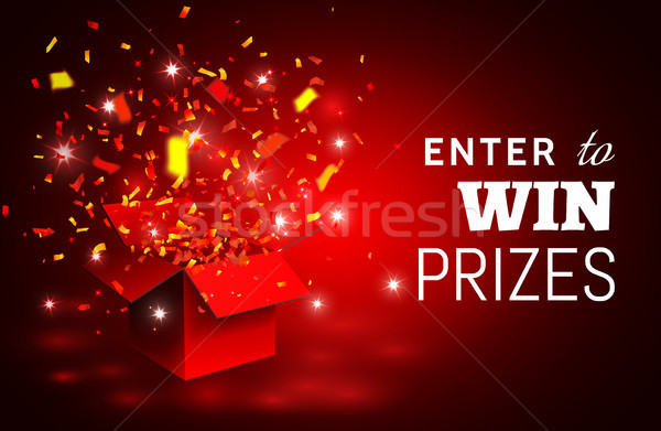 Open Red Gift Box and Confetti. Enter to Win Prizes. Vector Illustration Stock photo © olehsvetiukha