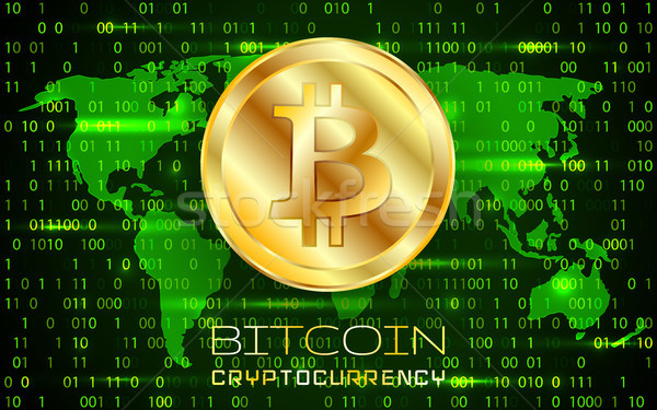 Bitcoin. Physical bit coin. Digital currency. Cryptocurrency. Golden coin with bitcoin symbol Stock photo © olehsvetiukha