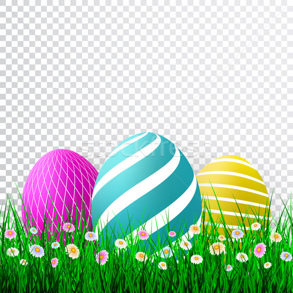 Vector Easter eggs with grass and flowers isolated on a transparent background. Element for celebrat Stock photo © olehsvetiukha