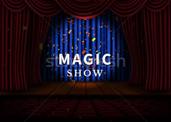 劇場 ステージ 赤 カーテン スポットライト ストックフォト © olehsvetiukha