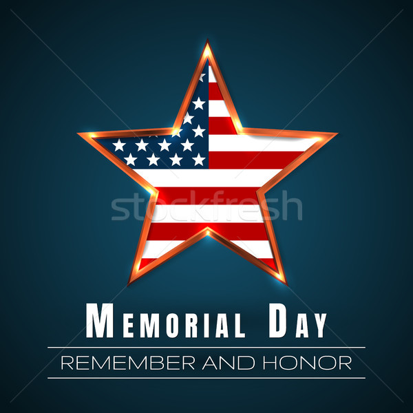 Stock photo: Memorial Day with star in national flag colors