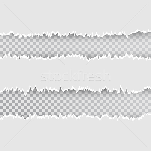 Vector torn hole in sheet of paper. Transparent background of resulting window. Template paper desig Stock photo © olehsvetiukha