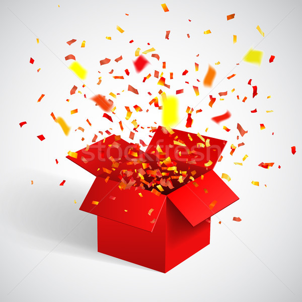 Open Red Gift Box and Confetti. Christmas Background. Vector Illustration Stock photo © olehsvetiukha