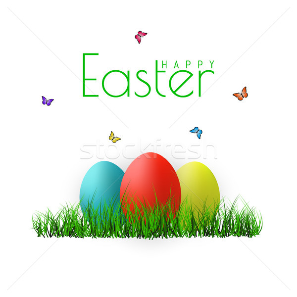 Vector Easter eggs with grass, butterfly and flowers isolated on a white background. Element for cel Stock photo © olehsvetiukha