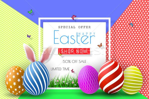 Húsvét vásár illusztráció szín színes tojás tipográfia Stock fotó © olehsvetiukha