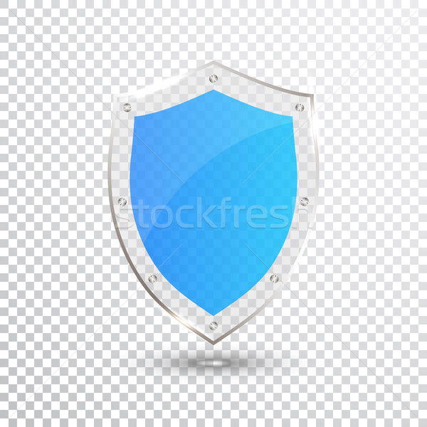 Transparent Blue Shield. Safety Glass Badge Icon. Privacy Guard Banner. Protection Shield Concept. D Stock photo © olehsvetiukha
