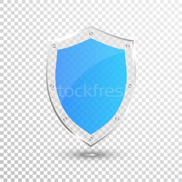 Trasparente blu scudo sicurezza vetro badge Foto d'archivio © olehsvetiukha
