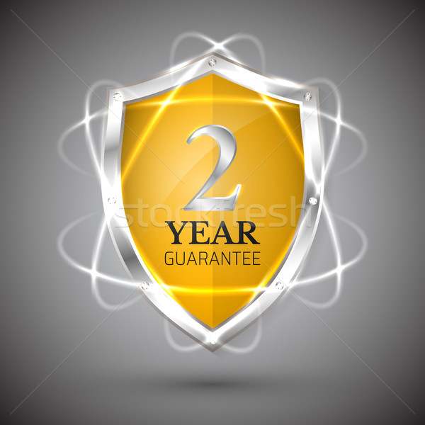 Shield with a guarantee 2 year icon. Warranty Label obligations. Safeguard sign. Protect badge. Secu Stock photo © olehsvetiukha