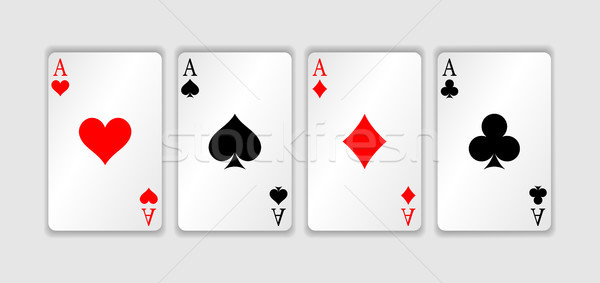 Set of four aces playing cards suits. Winning poker hand. Set of hearts, spades, clubs and diamonds  Stock photo © olehsvetiukha