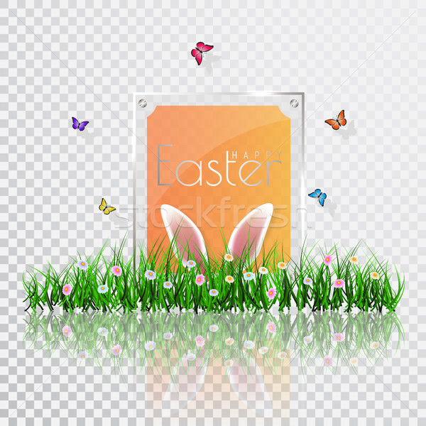 Happy Easter. Vector Easter eggs with grass, butterfly and flowers, isolated on a transperent backgr Stock photo © olehsvetiukha