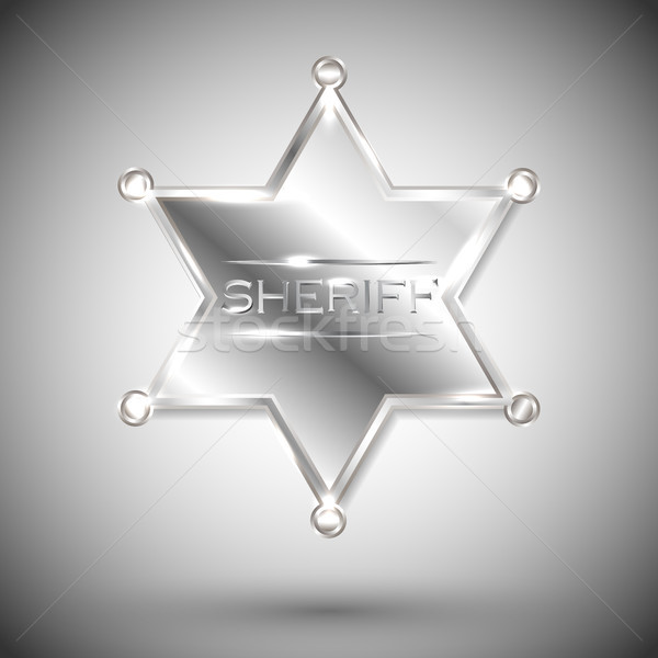 vector silver sheriff star isolated on white background. vector six-pointed star Stock photo © olehsvetiukha