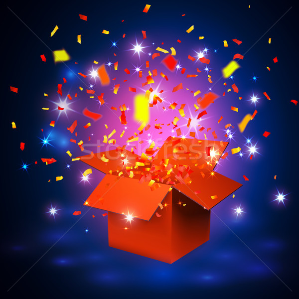Open orange Gift Box and Confetti. Vector Illustration Stock photo © olehsvetiukha