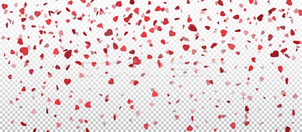 Heart confetti of Valentines petals falling on transparent background. Flower petal in shape of hear Stock photo © olehsvetiukha