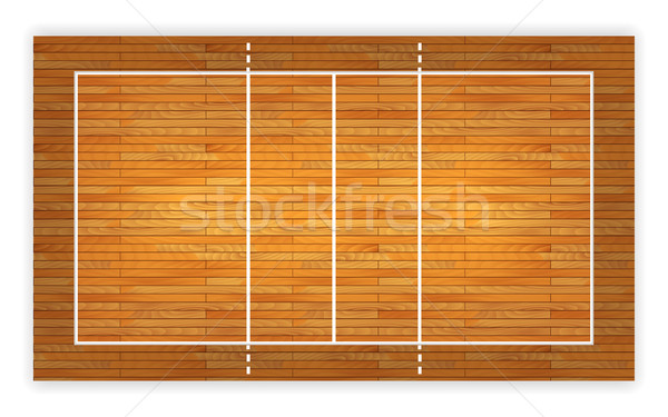 An illustration of an aerial view of a hardwood volleyball court. Vector EPS 10 Stock photo © olehsvetiukha